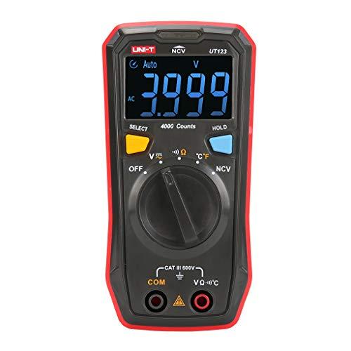 UMFun Mini Digital Multimeter AC DC 600V Voltmeter Ammeter NCV Diode Tester Red -