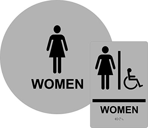 ADA Compliant Women's Restroom Sign Set, Door and Wall Sign with Braille, - Acrylic Optima