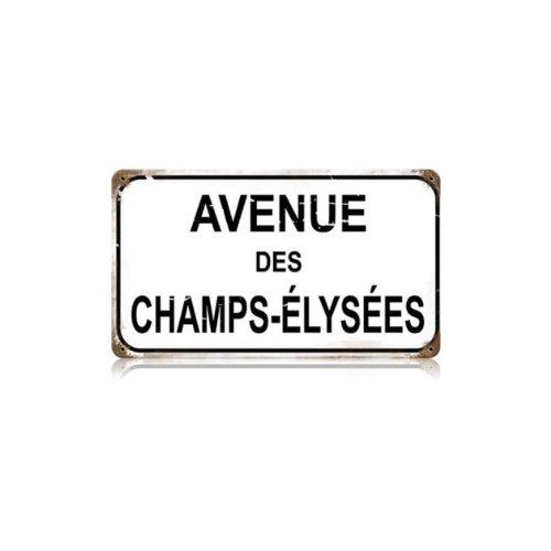 Champs Elysees Vintage Metal Sign Paris France Street 14 X 8 Steel Not Tin]()