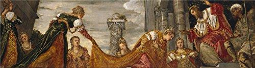 TintorettoティントレットEsther and Ahasuerus CA。1555`油絵、18x 67インチ/ 46x 170CM、の印刷ポリエステルキャンバス、この高解像度アート装飾プリントキャンバスは、Perfectly Suitalbe For Powder Room Decorとホームギャラリーアートとギフトの商品画像