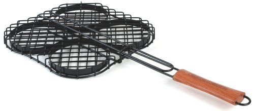 Charcoal Companion Nonstick Hamburger Grilling Basket (Non Stick Burger Basket)
