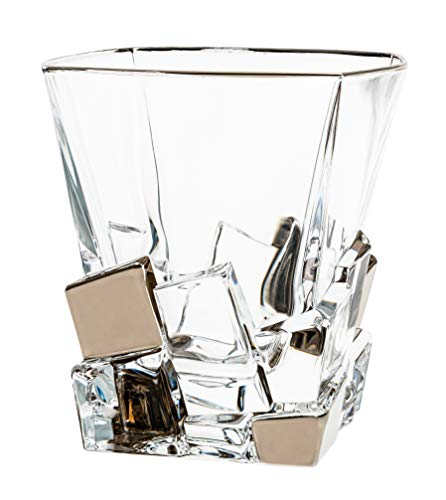 (Barski - European Quality Glass - Crystal - Set of 6 - Square Shaped - Double Old Fashioned Tumblers - DOF - 11.7 oz. - with Platinum Ice Cubes Design - Glasses are Made in Europe)