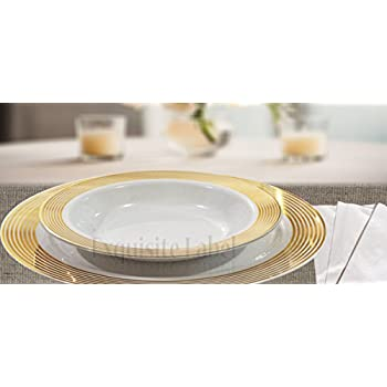 Exquisite Lable  White with Gold Heavyweight Plastic Elegant Disposable Plates Wedding Party Elegant  sc 1 st  Amazon.com & Amazon.com:
