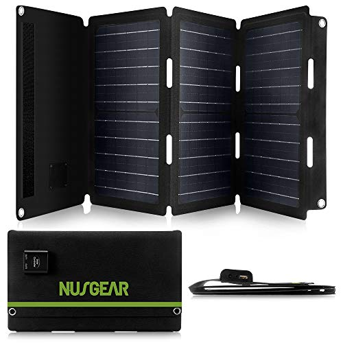 NusGear Solar Panel Charger for Portable Power Station Generator and USB Devices, QC3.0 USB Ports