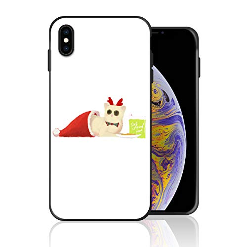 (Silicone Case for iPhone 6s Plus and iPhone 6 Plus, Cat in The Chirstmas Hat Design Printed Phone Case Full Body Protection Shockproof Anti-Scratch Drop Protection)