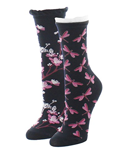 MeMoi Dragonfly & Floral 2 Pair Pack Crew Socks Black MS7 653 One Size 9-11 from MeMoi