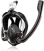 Maoyea Full Face Snorkel Mask Double Tubes Designed Anti Leak Dry Top System with Camera Mount 180°Panoramic V