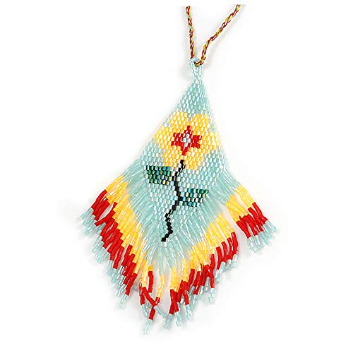 Avalaya Multicoloured Glass Bead Floral Pendant with Long Cotton Cord 80cm Long
