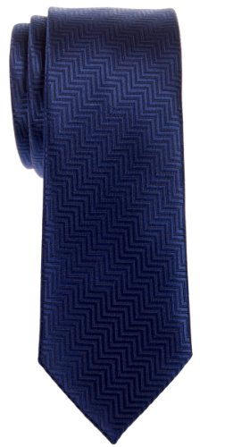 Necktie Thin Retro Skinny Tie (Retreez Zig Zag Striped Textured Woven Microfiber Skinny Tie - Navy Blue)