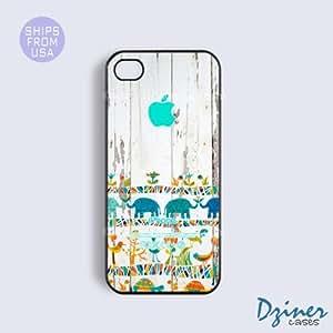 iPhone 4 4s Tough Case - Elephant Aztec Wood Print Phone Cover