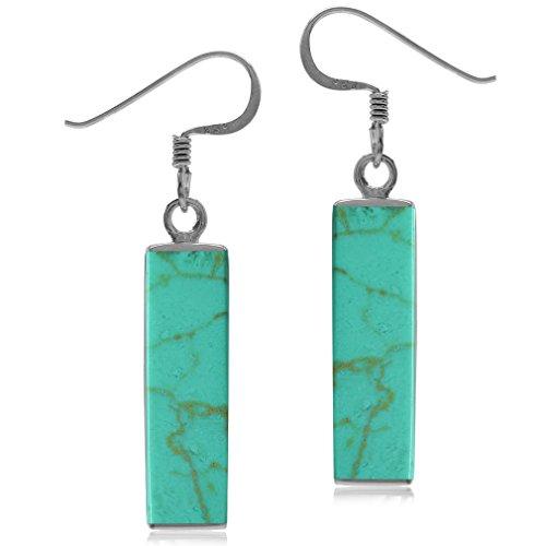 - Modern Long Bar Linear Created Turquoise 925 Sterling Silver Dangle Hook Earrings
