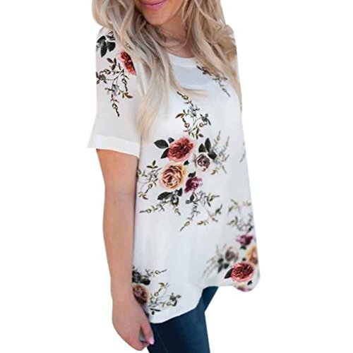 (Dainzuy Ladies Sexy Casual Tops, Women's Floral Printing T-Shirt Short Sleeve Blouse (White, L))
