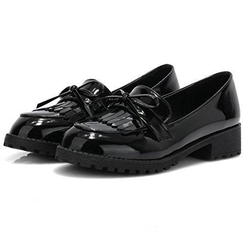 Heels Fashion Women Chunky Tassel KemeKiss Black Pumps vxz7gcAn