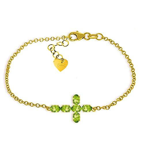 ALARRI 1.7 CTW 14K Solid Gold Cross Bracelet Natural Peridot Size 7.5 Inch Length by ALARRI