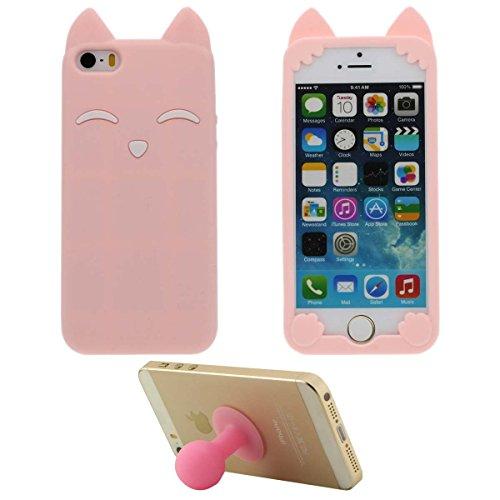 Weich Silikon Gel iPhone 5 5S Hülle HandyHülle Handy Tasche - Pink, Apple iPhone SE 5C Case, 3D Karikatur Niedlich Tier Fuchs Aussehen iPhone 5 Case + Silikon Halter