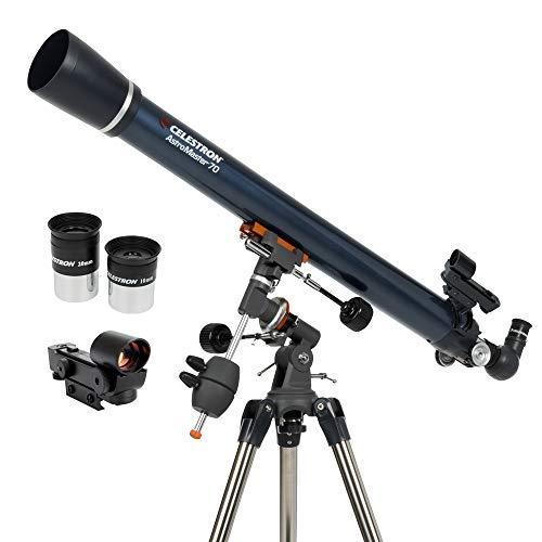 Celestron - AstroMaster 70EQ Refractor Telescope – Refractor Telescope for Beginners - Fully-Coated Glass Optics - Adjustable-Height Tripod - BONUS Astronomy Software Package