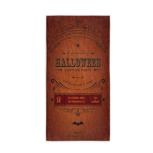 (Pinbeam Bath Towel Orange Vintage Halloween Party Label Classic October Announcement Towel)