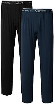 DAVID ARCHY Men's Bamboo Long Pants Loungewear Sleep Bot