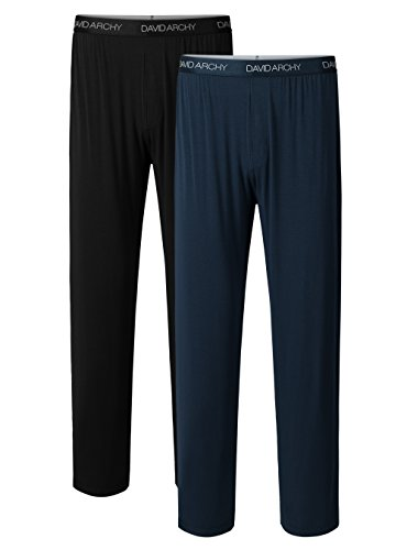 David Archy Men's 2 Pack Bamboo Long Pajamas Pants Loungewear Sleep Bottoms (L, Black+Navy Blue)
