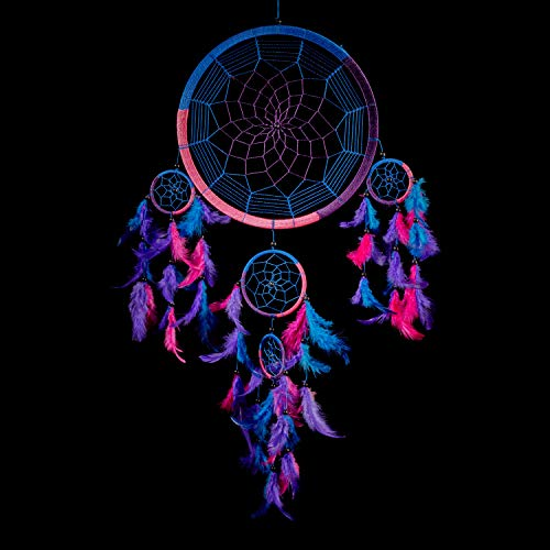 "Caught Dreams Dream Catcher Traditional Indian Wall Art | Delicate Design | Vibrant Colors | Ideal Dimensions 10.5"" x 27…"