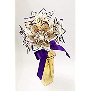 5 I Love You Paper Flowers- Ready to ship handmade gift, royal purple, anniversary gift, wedding decor, small bouquet, summer wedding 9