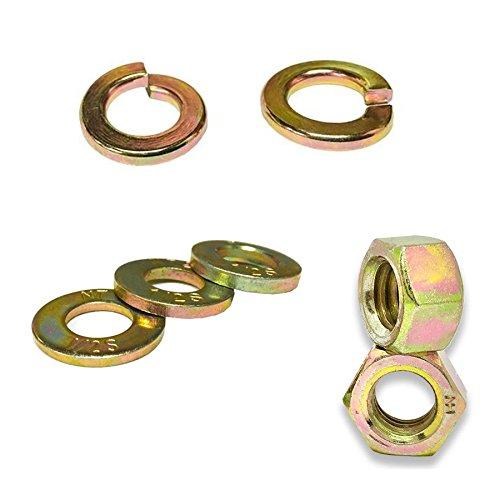 2 Assortments - Inch & Metric Grade 8 & 10.9 Hex Nuts, SAE Flat & Split Lock Washers - 702PCS!