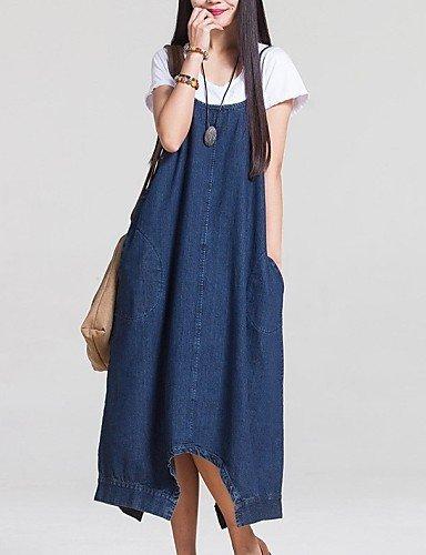 PU&PU Robe Aux femmes Ample / Denim Street Chic,Couleur Pleine A Bretelles Midi Coton / Polyester , blue-l , blue-l