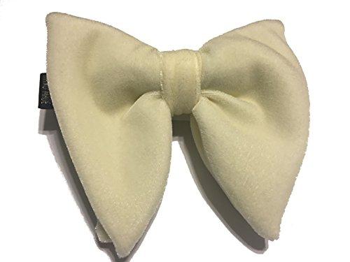 Mens-FERUCCI-Oversized-Bow-Tie-Tuxedo-White-Cream-Velvet-Bowtie-Mens-big-bow-tie