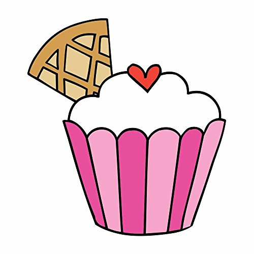 Colorful Cupcake with Heart and Cone Full Color Vinly Decal - Sized for Stainless Steel Tumbler