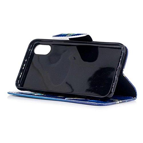 LEMORRY Apple iPhone X Custodia Sbalzato Pelle Cuoio Flip Portafoglio Borsa Sottile Protettivo Magnetico Chiusura Morbido Silicone TPU Cover Custodia per Apple iPhone X, Farfalla Stellata