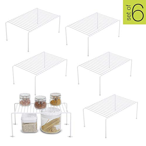 Smart Design Kitchen Storage Shelf Rack w/Plastic Feet – Steel Metal – Rust Resistant Finish – Cups, Dishes, Cabinet & Pantry Organization – Kitchen (13.25 x 6 Inch) (Medium) [White] – Set of 6