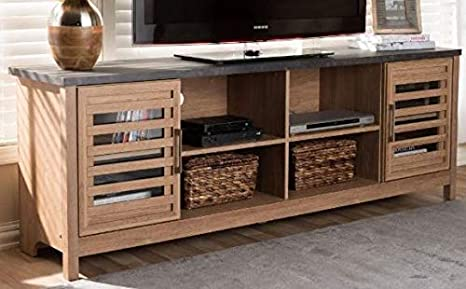 Amazon Com 70 Inch Tv Stand Light Brown Gray Wood With Cabinet