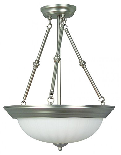 Jeremiah X125-BN 3 Light Inverted Pendant Fixture with Frosted Melon Glass, Brushed Satin Nickel (Frosted Melon Step Pan)