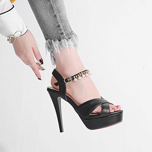 YE Damen Ankle Strap Offene Sandalen Stiletto High Heels Plateau mit Riemchen und Perlen Schuhe Schwarz
