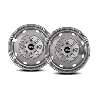 """Pacific Dualies 34-2608A 16"""" Polished Stainless Steel Wheel Simulator Front Tag Axle Kit for 1992-2007 Ford E350,E450 Van RV Motorhome: Automotive"""
