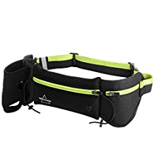 MOSSLIAN Hydration Belt for Runners, No Bounce Sports Running Waist Fanny Pack Belt Bag with Smartphone Pocket, Water Bottle Holder, Reflectors for Hiking,Camping,Traveling, Marathon