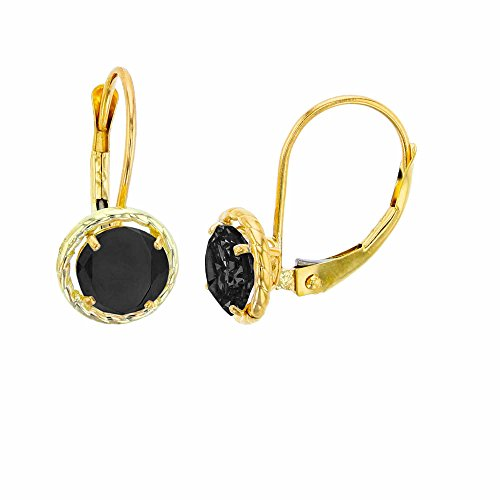 14K Yellow Gold 6mm Round Onyx Center Stone Rope Frame Leverback ()