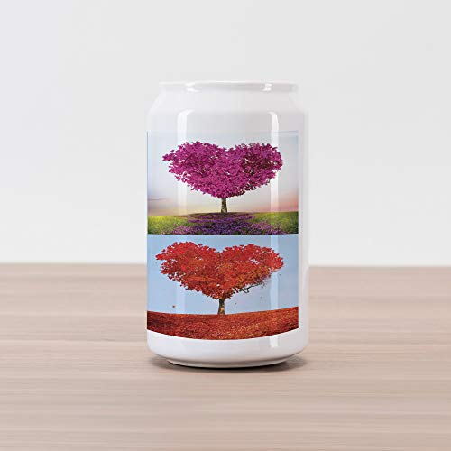 - Ambesonne Nature Cola Can Shape Piggy Bank, Heart Shaped Trees in 4 Seasons of Year Love and Adoration Themed Illustration, Ceramic Cola Shaped Coin Box Money Bank for Cash Saving, Multicolor