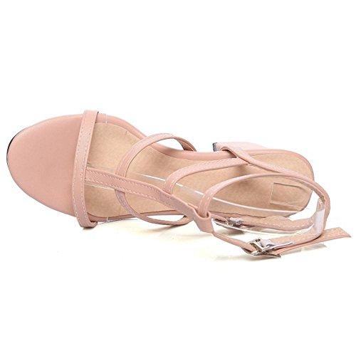 Coolcept Sandalias de Tacon Ancho Para Mujer Pink-Pu