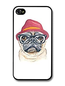 AMAF ? Accessories Hipster Pug with Glasses and Hat Funny Illustration case for iPhone 4 4S