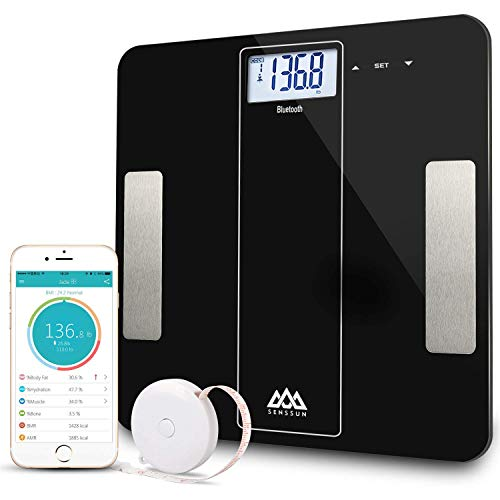 SENSSUN Bluetooth Body Fat Scale Wireless Bathroom Weight Scale Body Composition Analyzer with iOS and Android APP for Body Weight, Fat, Water, BMI, BMR, Muscle Mass,396 lbs