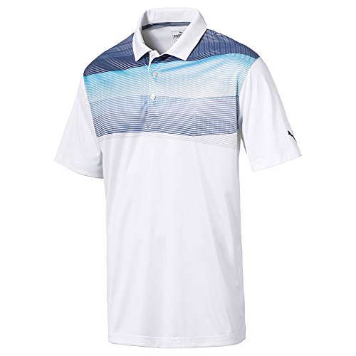 Puma Golf Mens 2018 PWR Cool Refraction Polo, Large, Blue Atoll