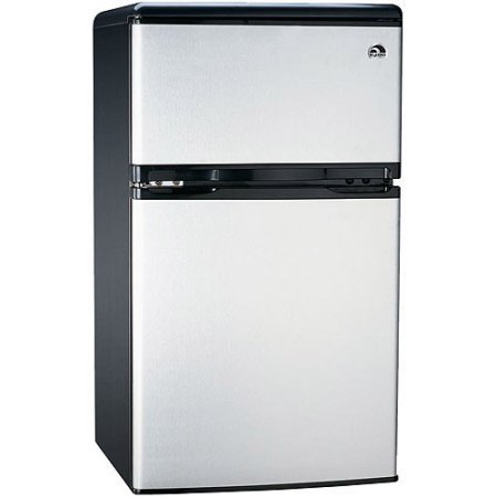 3.2 Cubic Feet, 2-Door Adjustable Thermostat, Refrigerator and Freezer, Stainless Steel, Silver