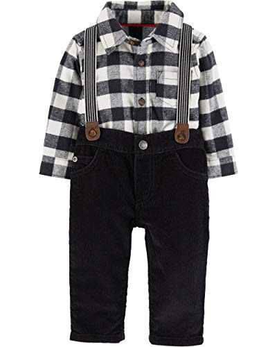 Carter's Baby Boys' 3 Piece Striped Print Dress Me Up Set (9 Months, Black)