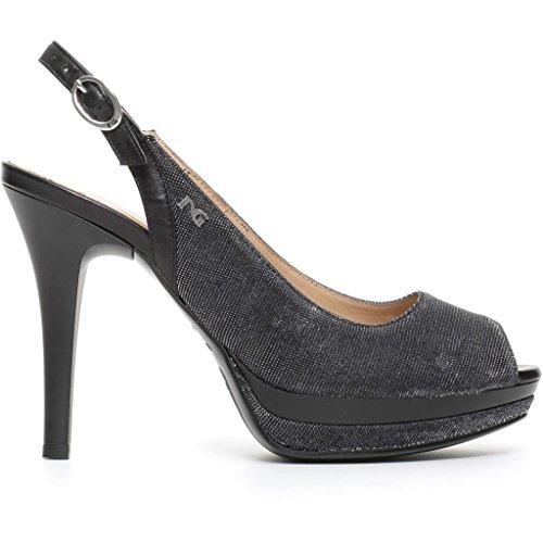 NeroGiardini P717412DE Sandalo per donna in tessuto glitterato nero tacco 10cm Doppio plateau (Taglia 37)
