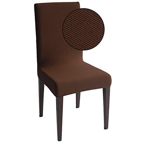 Chocolate Jacquard Spandex Dining Chair Covers - 6 PCS Stretch Removable Washable Dining Chair Slipcovers (Chocolate Jacquard, 6)