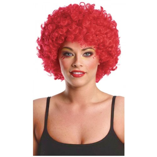 Costume Culture Men's Afro Clown Wig, Red, One Size
