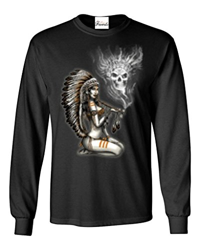 Chief Woman Smoking Pipe Smoke Skull Long Sleeve Shirt Native American Shirts