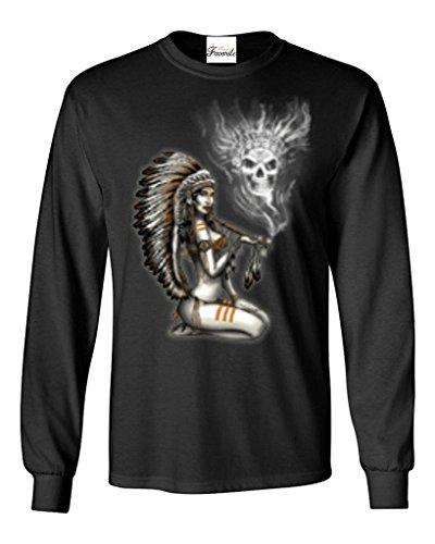Chief Woman Smoking Pipe Smoke Skull Long Sleeve Shirt Native American Shirts