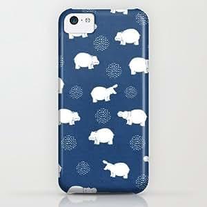 classic - Happy Safari Hippo - Blue iPhone & iphone 5c Case by Kangarui By Rui Stalph